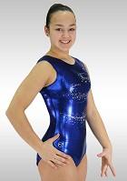 Turndrakt V778 ermeløs Blue Wetlook turkis glitter